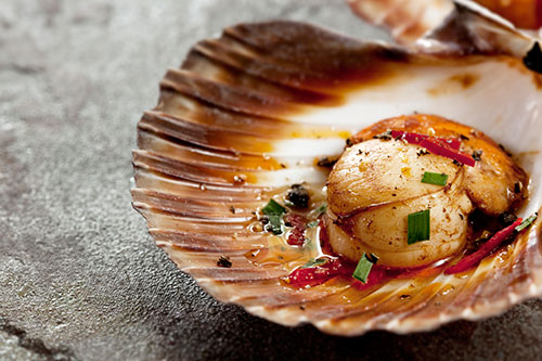 Steamed Scallops with Asian Flavour