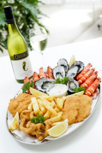 restaurant seafood platter and wine